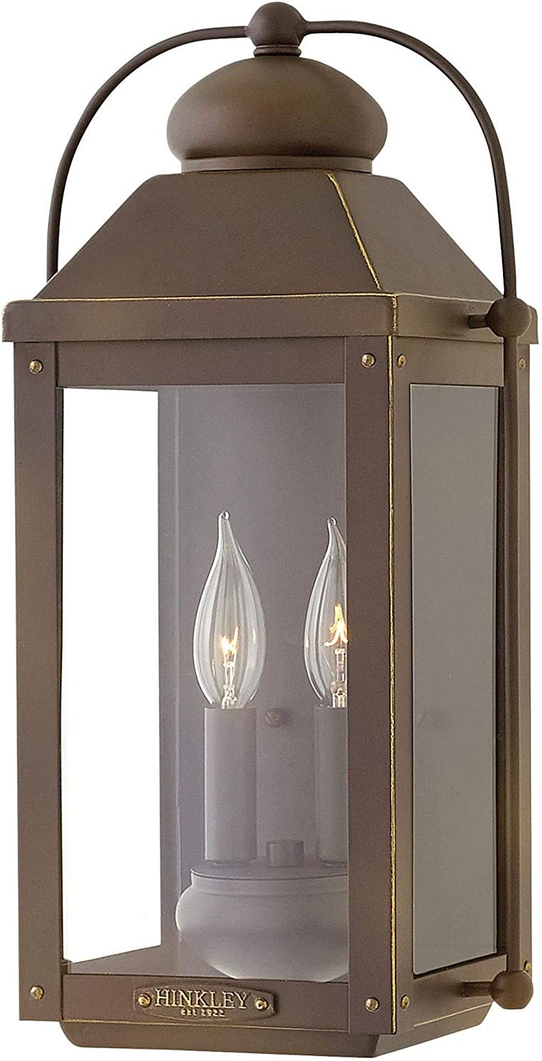 Hinkley 1854LZ Anchorage Outdoor Wall Mount Lantern with Light Oiled Bronze Finish