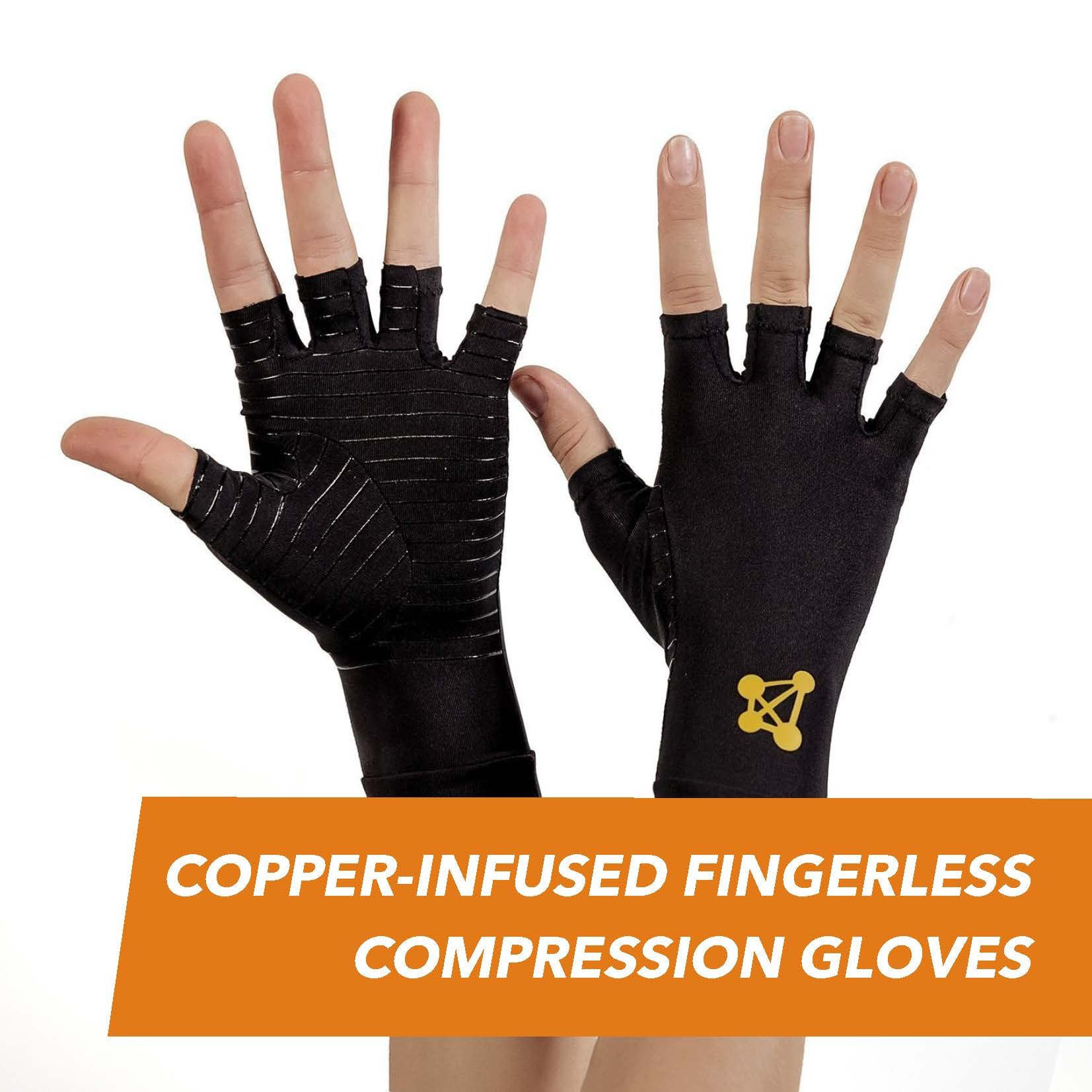 CopperJoint – Copper-Infused Fingerless Compression Gloves, Designed to Support Enhanced Performance, Rapid Recovery and Pain Relief for All Lifestyles, Pair (Medium)