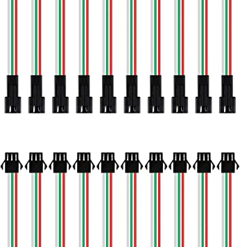 20PCS JST SM 3 Pin Connector LED Power Male to Female SM Wire Cable Adapter with 135mm 22AWG Cable for LED Lamp Strip RC Toys Battery