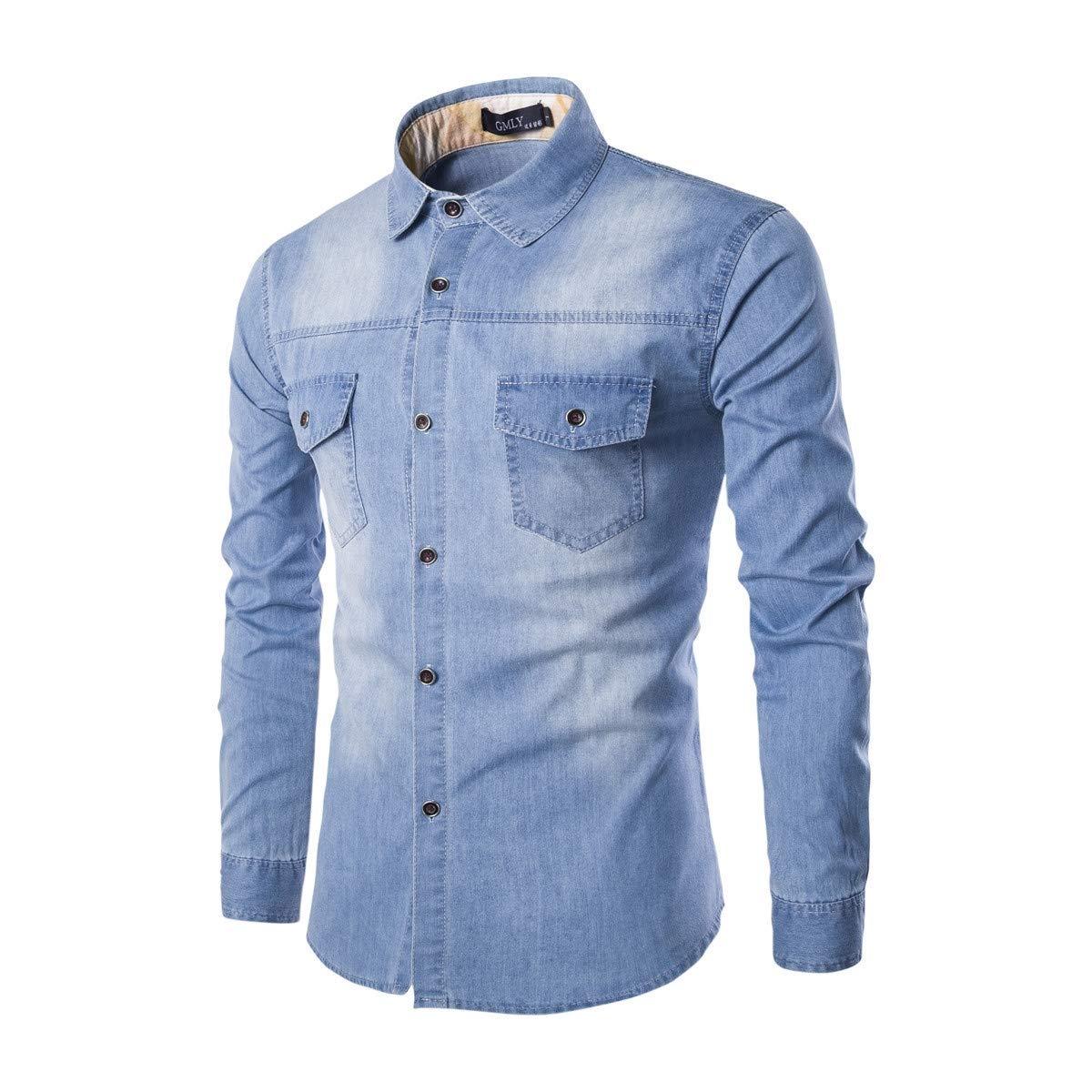 Abetteric Mens Pocket Office Plus Size Denim Washed Business Shirts