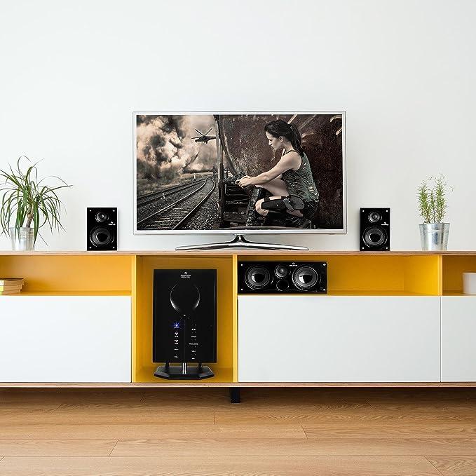 auna Areal 525 BK Home Cinema 5.1 - Equipo de Sonido Envolvente , 5 Altavoces Surround , Subwoofer Bass Reflex , Entrada AUX , 125 W RMS , > 60 dB , ...