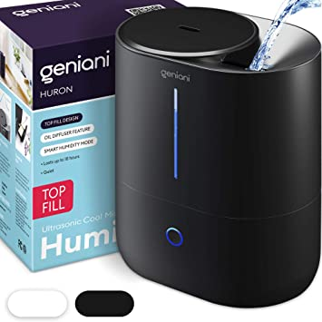 GENIANI Top Fill Cool Mist Humidifiers for Bedroom & Essential Oil Diffuser - Smart Aroma Ultrasonic Humidifier for Home, Baby, Large Room with Auto Shut Off (Black, 4L)