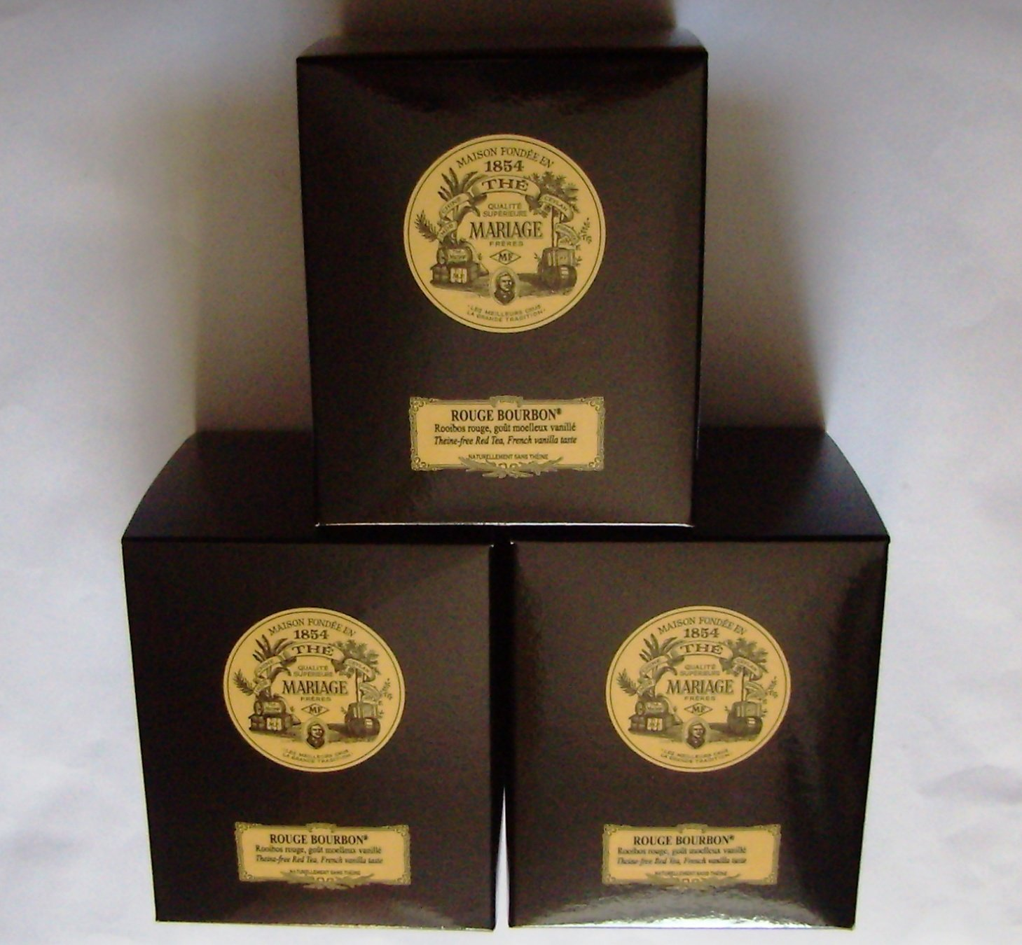 Mariage Frères - ROUGE BOURBON® - 3 x TIN'S of Black classical sealed 3.52oz / 100gr canister / tin