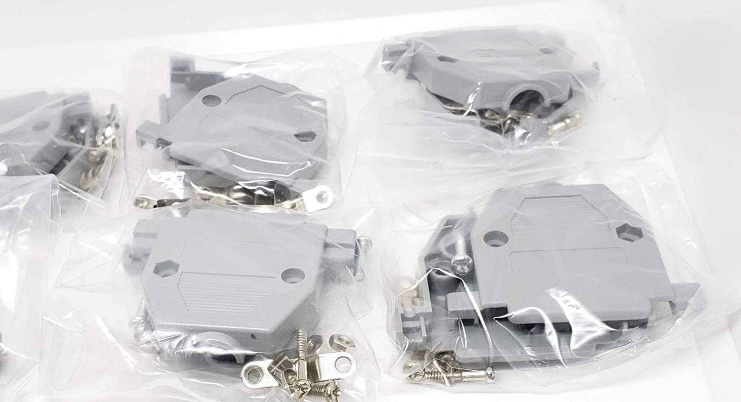 Pc Accessories - 10-Pack Grey Plastic Hoods for DB-25 Connectors, Short Screws, 25 Pins 10 Pack