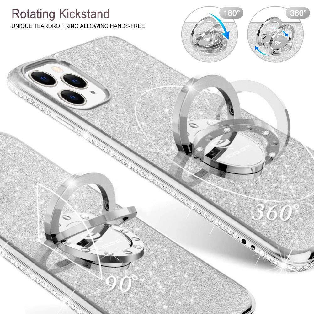 OCYCLONE Funda iPhone 11 Pro 5.8 Plata Brillante Cover Protectora para iPhone 11 Pro Glitter Dimante Ultra Delgada TPU Carcasa con Anillo Kickstand de 360 y Cordon
