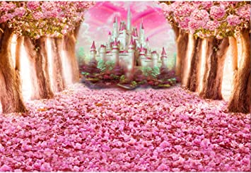 Amazon Com Laeacco Pink Flowers Tree And Petals Castle