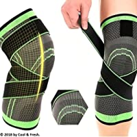 Moisture-Wicking Breathable Running Jogging Sports Knee Support 1 Pair - Adjustable Dual Pressurized 360 Degree All Round Protection