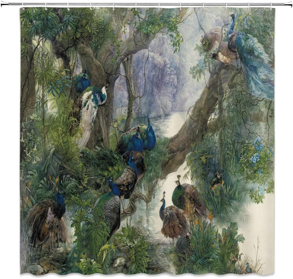 dachengxing Bird Peacock Shower Curtain Peacock Family on Old Tree in Wetland Jungle Decor Asian Antique Oil Painting,Gray Green Fabric Bathroom