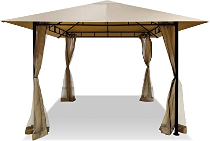 Amazon Com Dikasun Gazebos For Patios Single Roof Gazebo With Curtains Outdoor Shade Canopy Gazebo With Adjustable Top Corner Tubes Beige Garden Outdoor