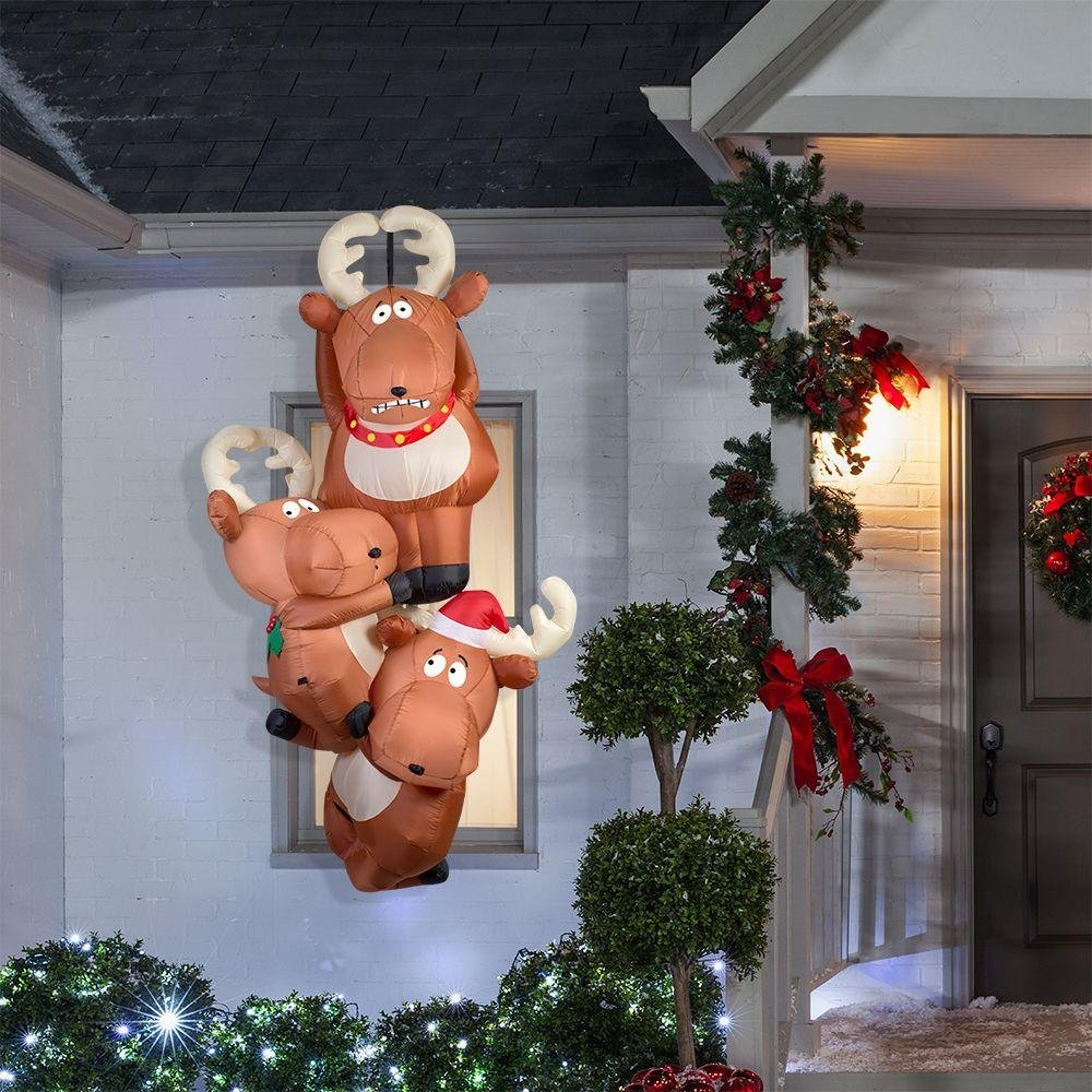 Gemmy 51.18 in. D x 29.53 in. W x 90.16 in. H Inflatable Reindeers Hanging From Roof by Gemmy (Image #1)