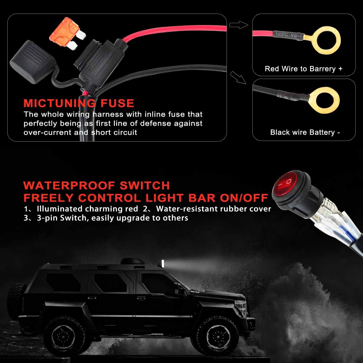 Kawell Led Wiring Harness Include Switch Kit Suppot 300w 3 Pin Light Bar On Off Waterproof 1 Lead 9ft Automotive