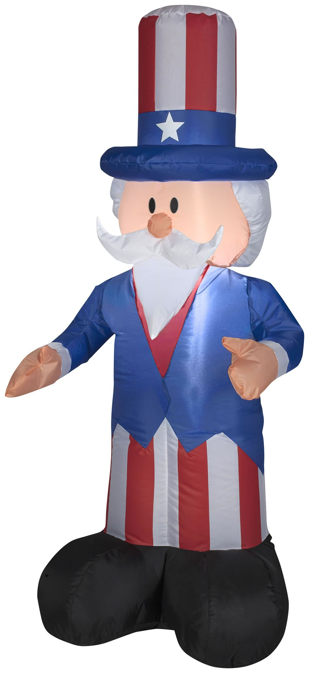 Gemmy Airblown Inflatable Patriotic Uncle Sam with Top Hat July 4th Life Sized Decoration - 4-foot Tall by Gemmy (Image #1)