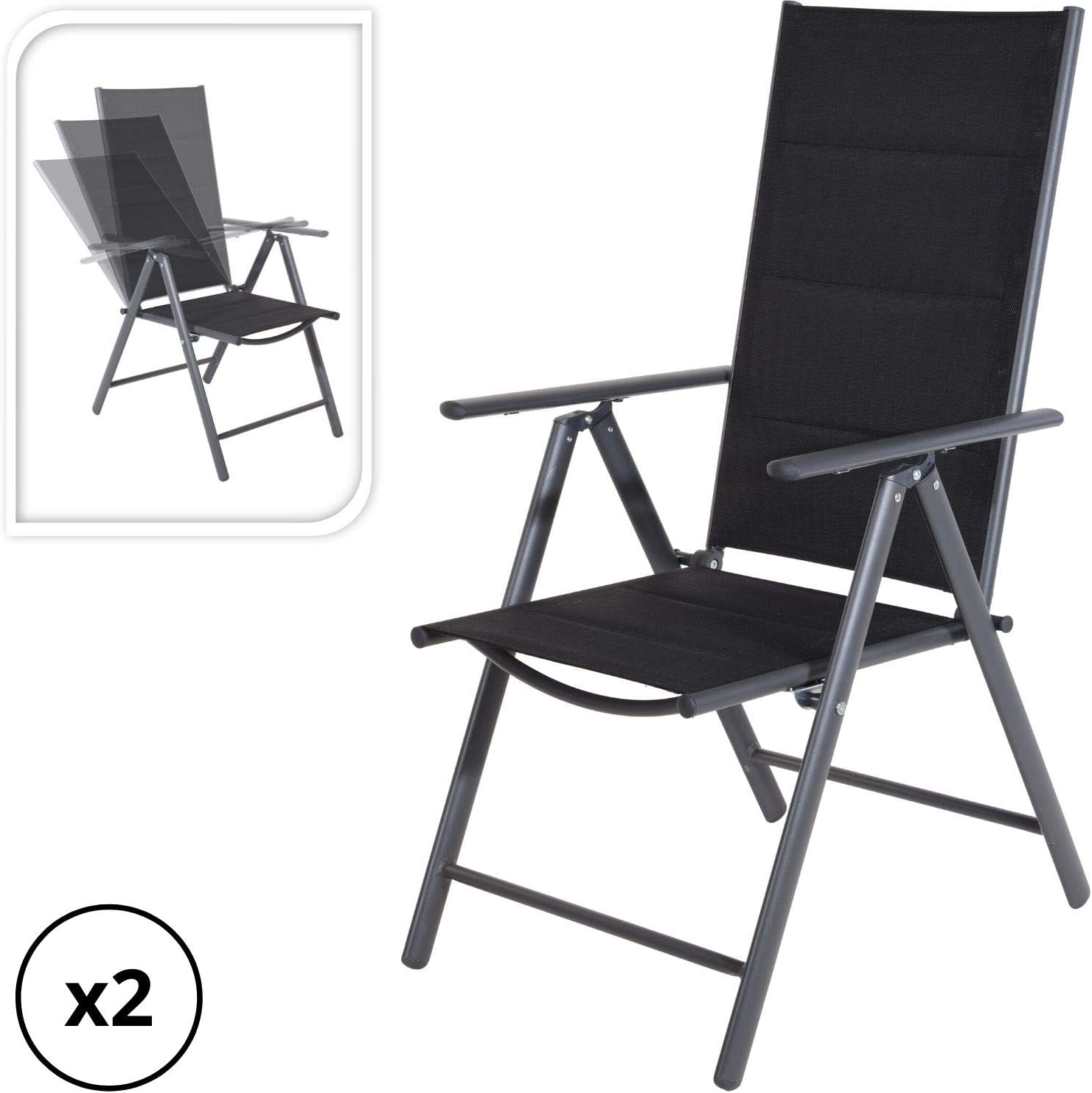 Dawsons Living 11-Position Adjustable Folding Outdoor Garden Chairs -  Reclining Garden Dining Chairs - Comfortable Seating (Pack of 11)