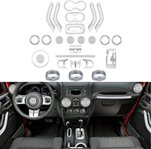 28 PCS Full Set Interior Decoration Trim Kit-Door Handle&Cup Cover, Steering Wheel&Center Console Trim, Gear Frame, Air Outlet&AC Ring Cover for Jeep Wrangler JK JKU 2011-2018 2&4-door(Chrome Silver)