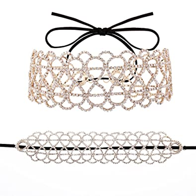 MultiWare 2 Colors Elegant Women Crystal Necklace Rhinestone Diamond Flower Pendant Choker Jewelry zQJDi