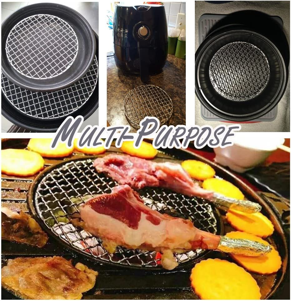 6.5inch Stainless Steel Cooling Rack Wire Trivet Steaming Roasting Grilling Rack for Oven BBQ Round Baking Racks for Cooking