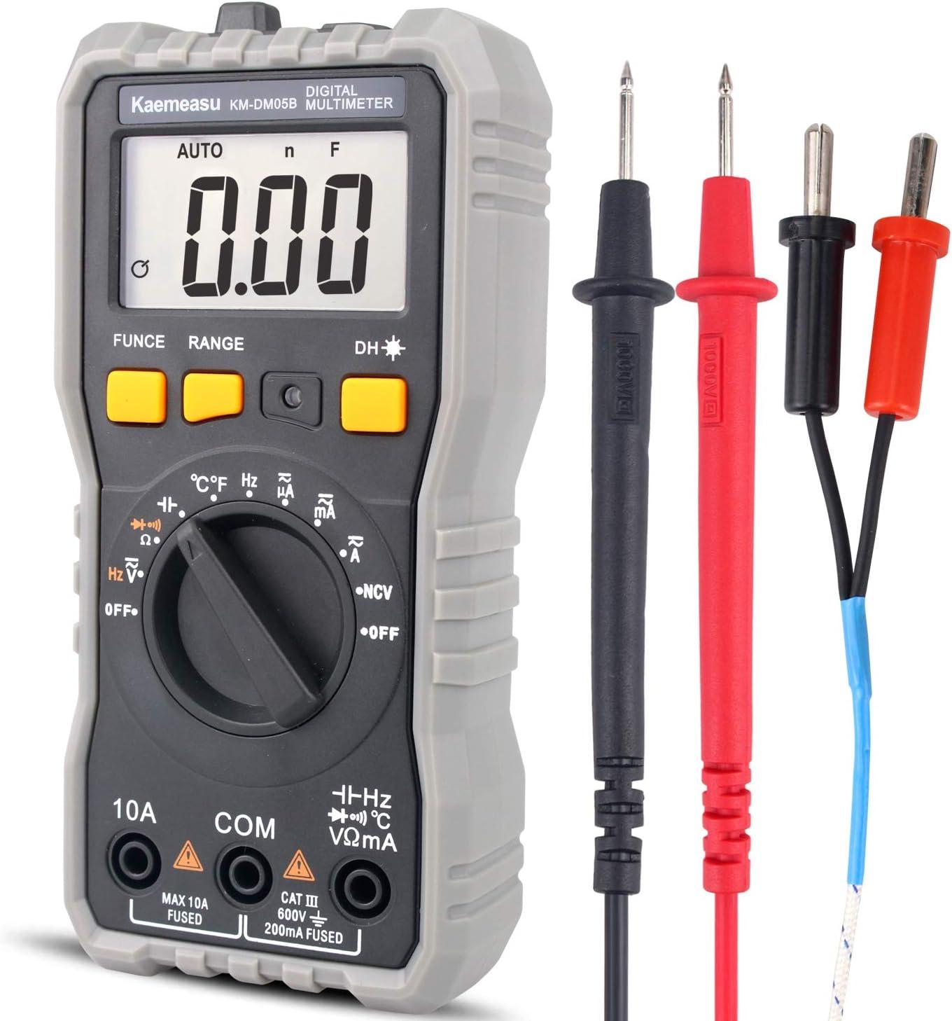 Mini Digital Multimeter DC/AC Resistance Capacitance High Precision Electrician Universal Meter Repair Tool With Temperature KM-DM05B