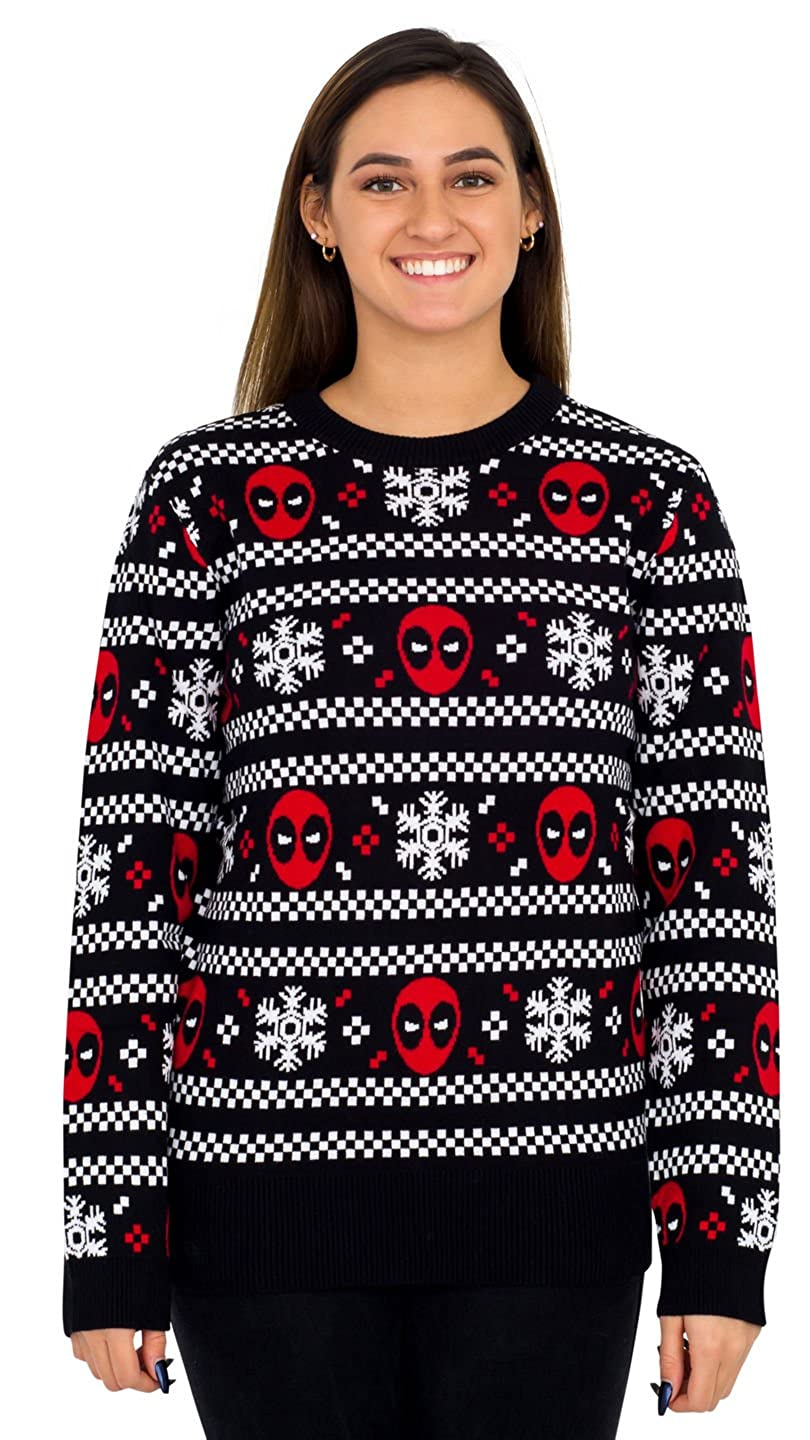 Mighty Fine Deadpool Holiday Snow Stripes Ugly Christmas Sweater