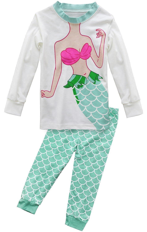 8c1fd6cedb Fancyinn Kinder Schlafanzug Meerjungfrau Festlich Pyjama Baumwolle zu  Weihnachten Nachtwäsche 98-128 e_WS_7016_uk