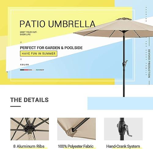 Devoko 9 FT Patio Umbrella Outdoor Table Market Umbrella with Easy Push Button Tilt for Garden, Deck, Backyard and Pool Beige