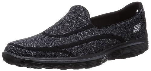 Skechers Performance Women's Go Walk 2 Super Sock Slip-On Walking Shoe,Old  Black