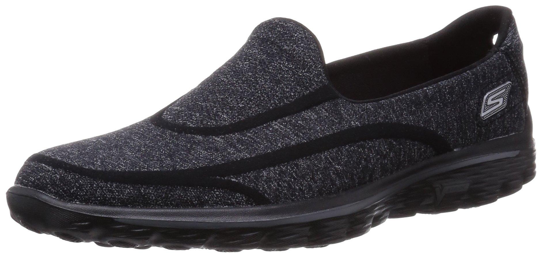 Skechers Performance Women's Go Walk 2 Super Sock Slip-On Walking Shoe,Old Black,7.5 M US by Skechers