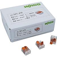 Wago 221-412 - Borne de conexión (200 unidades, 2 conductores, con palanca de accionamiento, 0,2-4 mm², tamaño pequeño…