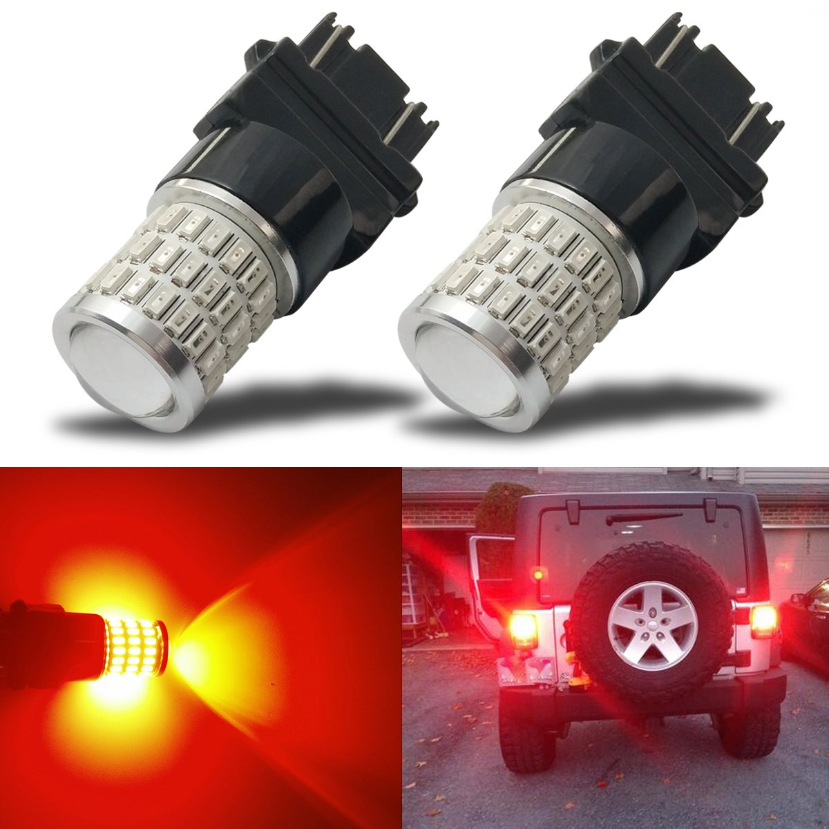 iBrightstar Newest 9-30V Super Bright Low Power Dual Brightness 3156 3157 3056 3057 LED Bulbs with Projector Replacement for Tail Brake Lights,Brilliant Red by iBrightstar (Image #1)
