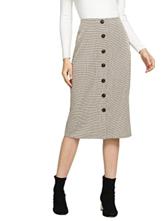 1a28344d57 WDIRA Women s Casual Below The Knee Button Front Bodycon Pencil Skirt  Multicolor-1 S