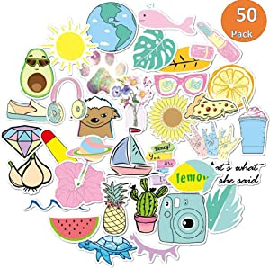 SBL Stickers for Hydro Flask, VSCO Girls Stuff, Cute Trendy Stickers for Water Bottle, Laptop, Travel (50 Pack)