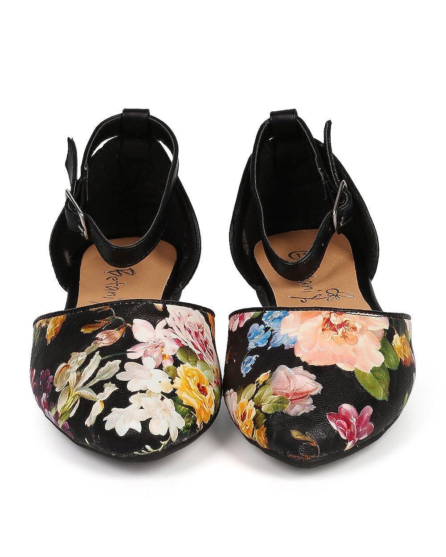 EJ09 Floral Leatherette Pointy Toe DOrsay Ballet Flat Little Girl//Big Girl Black