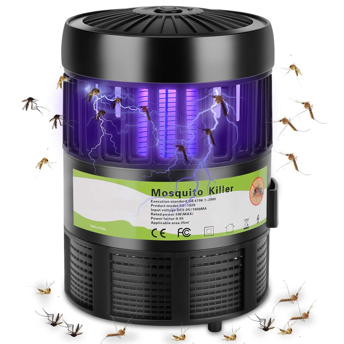RockBirds Killer Lamp and Bee Zapper, Indoor Trap, with Stand LED, Black by RockBirds