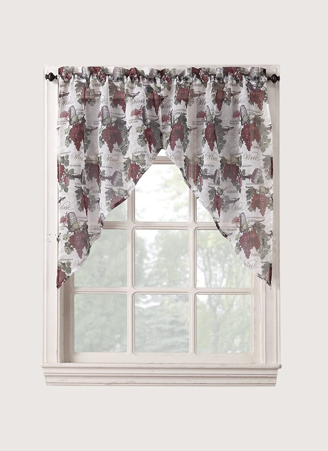 Kitchen Curtains With Grapes Amazoncom No 918 Winecountry Kitchen Curtain Tiers 54 By 36