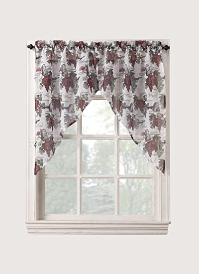 No. 918 Winecountry Kitchen Curtain Swag Valance, 54 by 38 inch, Merlot