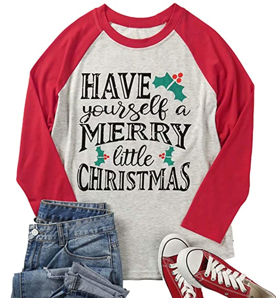 39f76a7db788 DUTUT Plus Size Have Yourself a Merry Little Christmas T Shirt Womens 3/4  Sleeve Letters Print O-Neck Casual Tees at Amazon Women's Clothing store:
