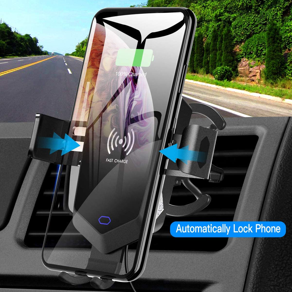 10W Fast Charging Wireless Car Charger Mount Auto Clamping Car Phone Mount Fits for iPhone Xs//Xs Max//XR//8 Plus,Samsung Galaxy S10//S10+ S9//S8,and All Qi-Enable Devices Air Vent Phone Holder for Car,