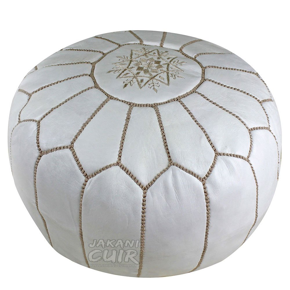 JAKANI Cuir Handmade Moroccan Leather Pouf, Footstool Marrakech, White with Beige Stitching, Unstuffed