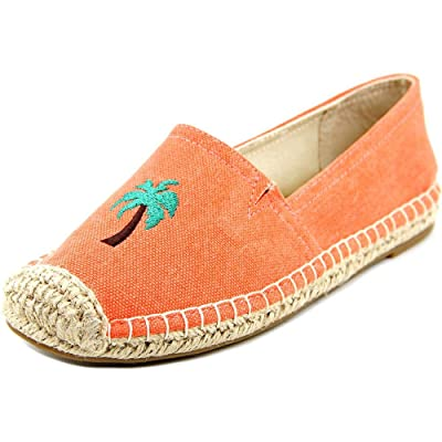 1.4.3. Girl Womens Island Closed Toe Espadrille Flats, Coral/Palm Tree, Size 6.5
