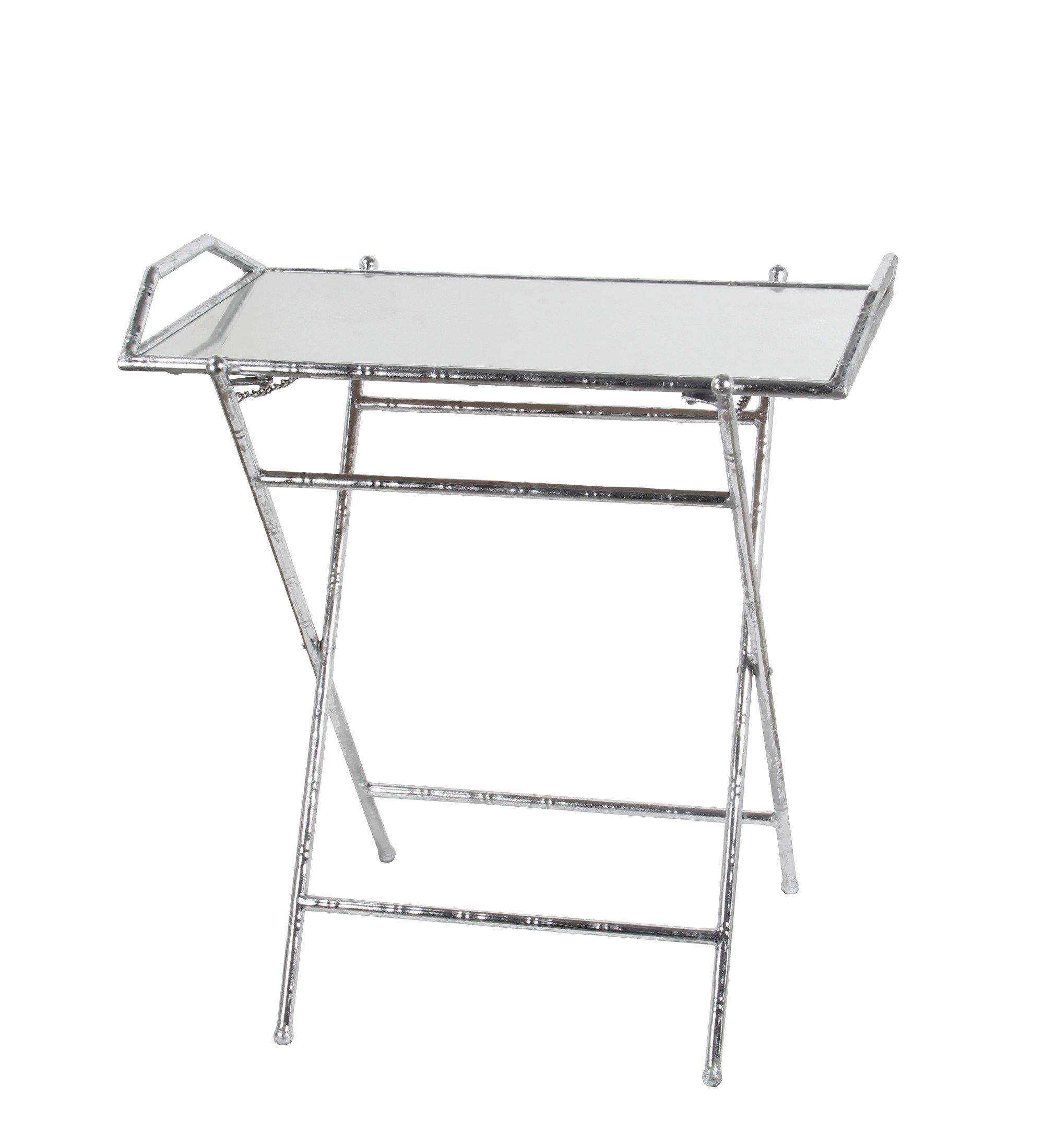 Privilege 18952 Folding Tray Leaf Table, Silver