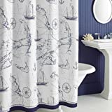 """Uphome Shabby Cape Island Map Bathroom Shower Curtain - Navy and White Nautical Style Pattern Polyester Fabric Kids Decorative Curtain Ideas (72""""W x 72""""H)"""