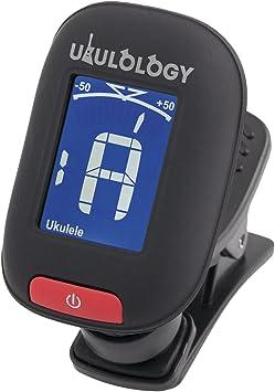 includes Battery /& Instructions Ukulology Black Clip-on Ukulele Tuner