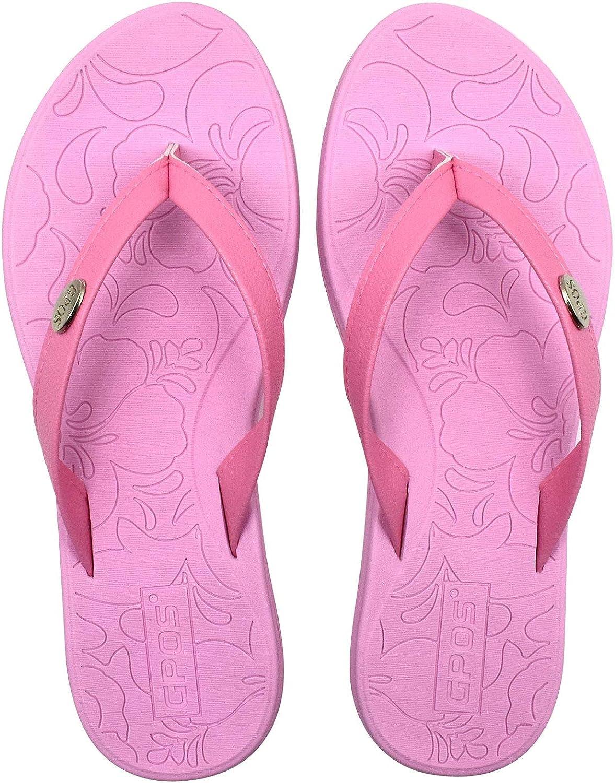GPOS Womens Yoga Mat Flip Flops Comfortable Beach Leather Strap Thongs Sandals with Lightweight EVA Sole