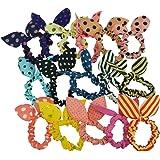 (キッズ ハウス)KIDS HOUSE 子供用ヘアゴム 10本セット カラフルウサギの耳 可愛いリボン付き 女の子ヘアアクセサリー