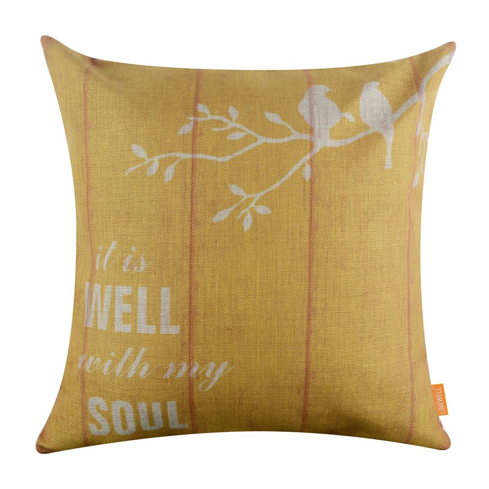 LINKWELL 18''x18'' Vintage Wood Look Yellow Bird on Tree Burlap Cushion Covers Pillow Case (CC1112)