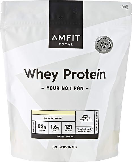 Marca Amazon - Amfit Nutrition Proteína de Suero de Leche en Polvo 1kg - Plátano (anteriormente PBN)