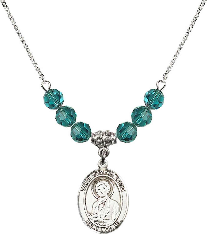 Bonyak Jewelry 18 Inch Rhodium Plated Necklace w// 6mm Blue December Birth Month Stone Beads and Saint Dominic Savio Charm
