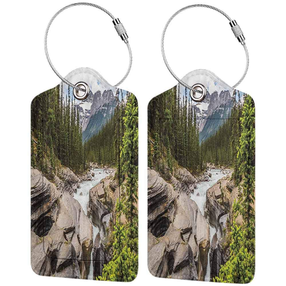 Multi-patterned luggage tag Americana Landscape Decor River Float in Forest Northern Recreation Camping Rafting Woods Print Double-sided printing Multi W2.7 x L4.6