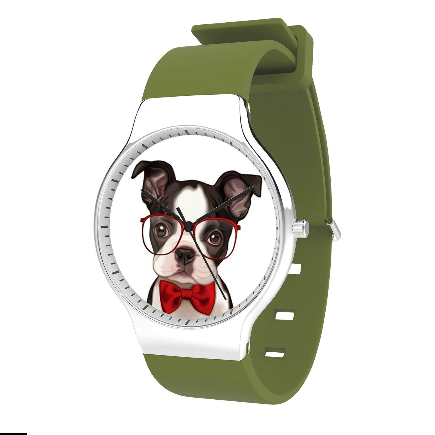FELOOWSE Glasses Dog Watch Men's Quartz Watches, Minimalist Slim Japanese Quartz Youth Silicone Watches, Fashion Practical Waterproof Boys Watch Customized Watches