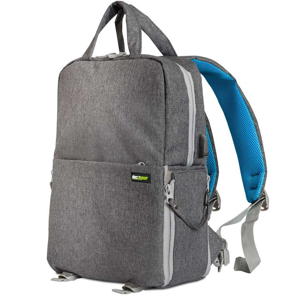 Deco Gear Multifunction Camera Backpack for Canon, Nikon, Sony SLR/DSLR & Mirrorless Cameras, Lenses, and Accessories w/Rain Cover, 15'' MacBook/Laptop Bag - (Gray)