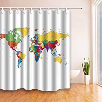 World map decor shower curtains by jawo bold color lump world map world map decor shower curtains by jawo bold color lump world map bath curtains72x72 gumiabroncs Gallery